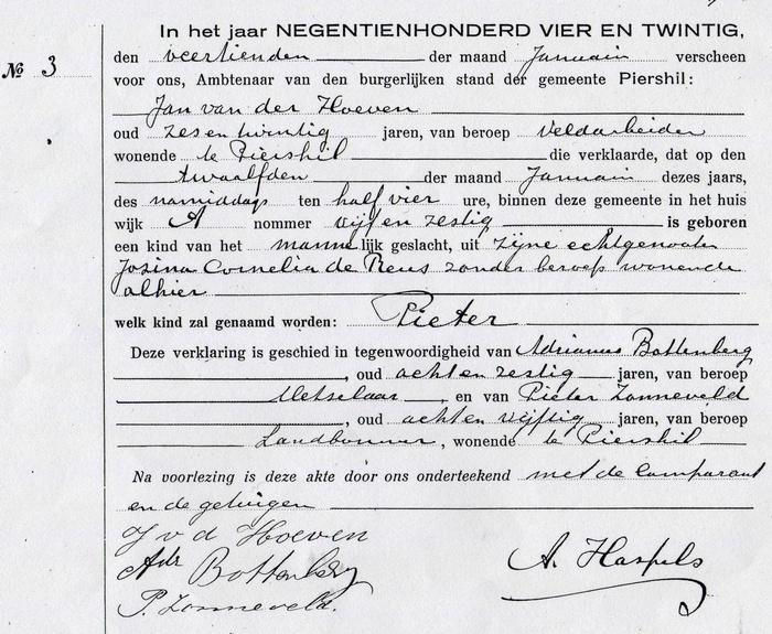 pieter-vd-hoeven-aangifte-geboorte-1924