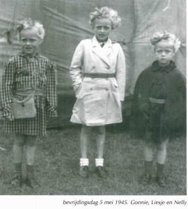 Gonnie, Liesje en Nelly, 5 mei 1945